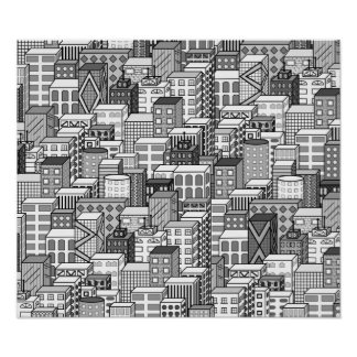 Black & White Vector Cityscape Poster