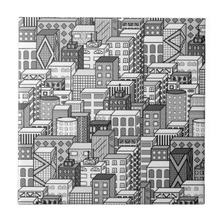 Black & White Vector Cityscape Tile