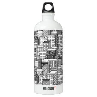 Black & White Vector Cityscape Water Bottle