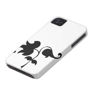 Black & white vector ivy laurel branch silhouette iPhone 4 cover