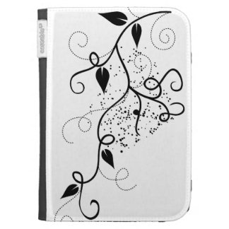 Black & white vector ivy swirl branch silhouette kindle cover