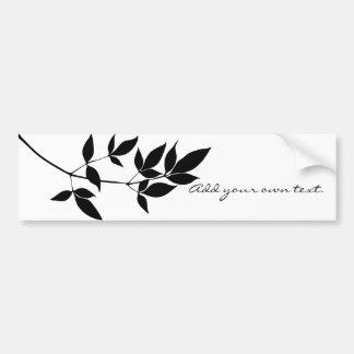 Black & white vector leaves branch silhouette bumper sticker