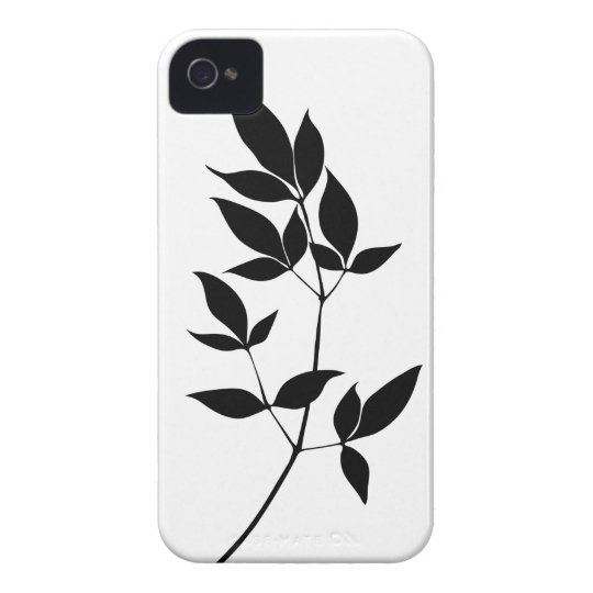 Black & white vector leaves branch silhouette iPhone 4 case