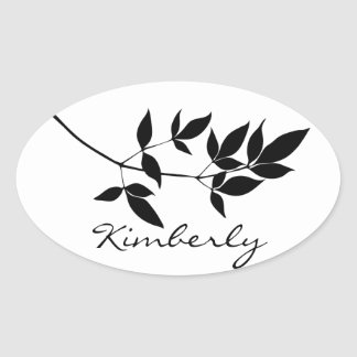 Black & white vector leaves branch silhouette oval sticker