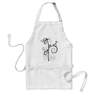 Black & white vector swirl branch silhouette adult apron