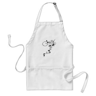 Black & white vector swirl branch silhouette adult apron