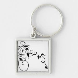 Black & white vector swirl branch silhouette keychain