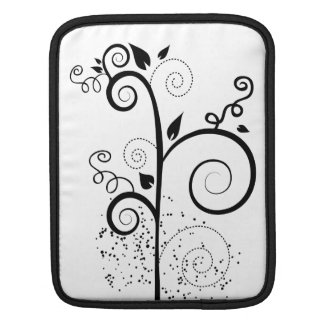 Black & white vector swirl branch silhouette sleeve for iPads