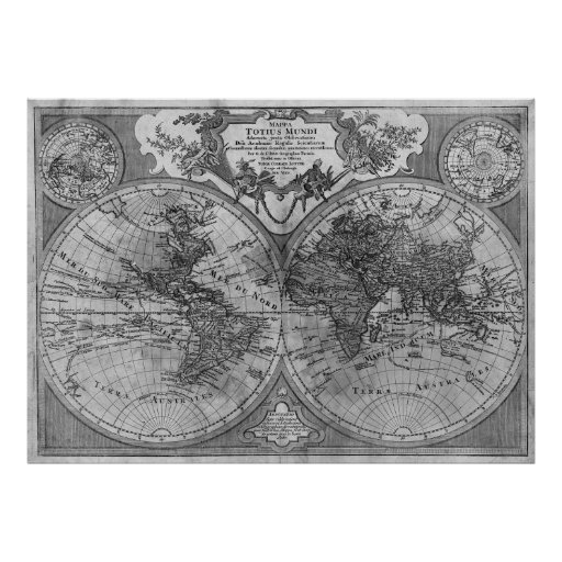 black white version of de l 39 isle world map poster zazzle. Black Bedroom Furniture Sets. Home Design Ideas