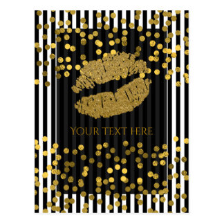 Black & White Vertical Stripes Gold Faux Foil Dots Postcard