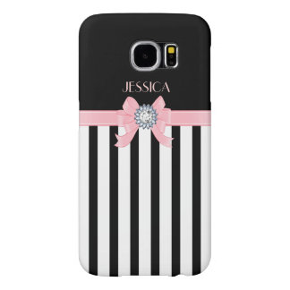 Black & White Vertical Stripes With Pink Ribbon Samsung Galaxy S6 Case