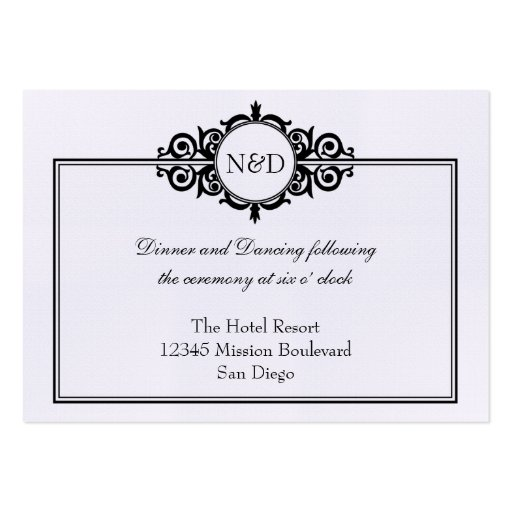 black white victorian wedding reception enclosure large business cards pack of 100 zazzle. Black Bedroom Furniture Sets. Home Design Ideas