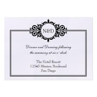Black white Victorian wedding reception enclosure Large Business Card