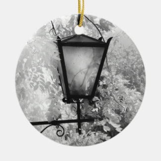 Black & White view of light fixture Ceramic Ornament
