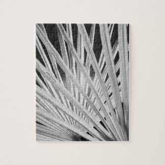 Black & White view of palm tree fronds Jigsaw Puzzle