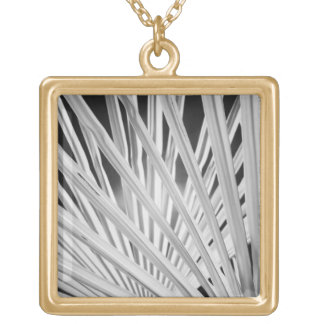 Black & White view of palm tree fronds Necklaces