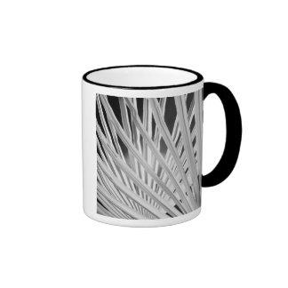 Black & White view of palm tree fronds Ringer Mug