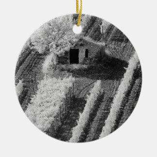 Black & White view of small stone barn Ceramic Ornament