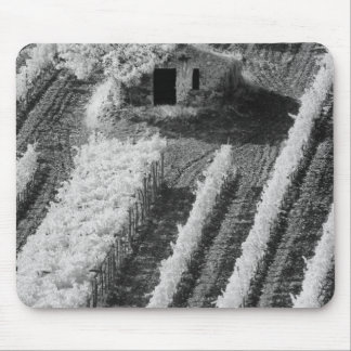 Black & White view of small stone barn Mouse Pad