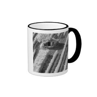 Black & White view of small stone barn Mug