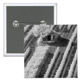 Black & White view of small stone barn Pinback Button