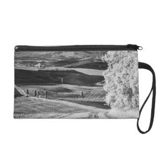 Black & White view of winding road Wristlet Purse