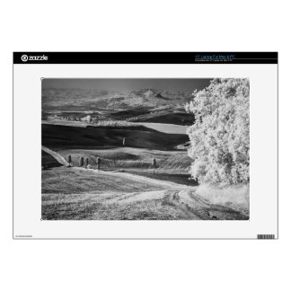 Black & White view of winding road Skin For Laptop