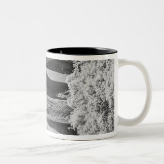 Black & White view of winding road Two-Tone Coffee Mug