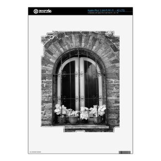 Black & White view of window and flower pots Decals For iPad 3