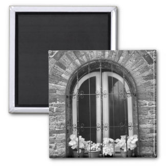 Black & White view of window and flower pots Refrigerator Magnets