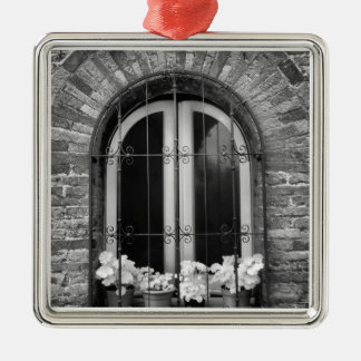 Black & White view of window and flower pots Metal Ornament