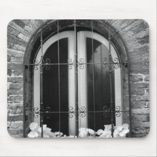 Black & White view of window and flower pots Mouse Pad