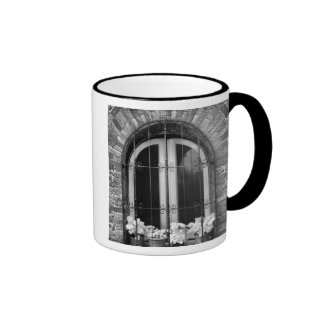 Black & White view of window and flower pots Coffee Mugs