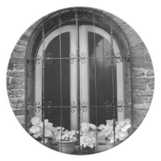 Black & White view of window and flower pots Plate