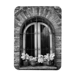 Black & White view of window and flower pots Rectangular Magnets