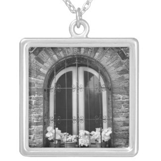 Black & White view of window and flower pots Square Pendant Necklace