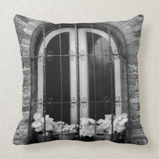 Black & White view of window and flower pots Throw Pillow