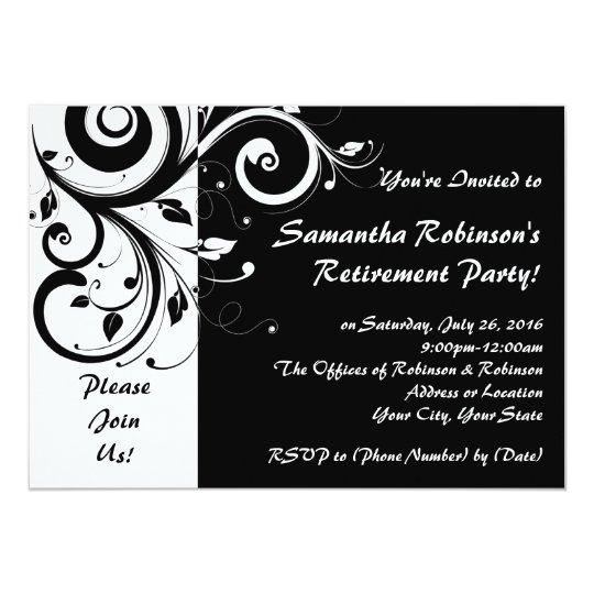 BlackWhite Vine Swirl Retirement Party Invitation – Black and White Party Invites