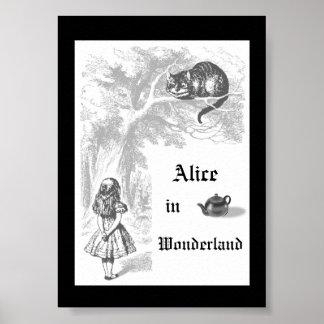 Black & White Vintage Alice in Wonderland Poster