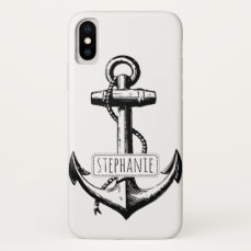 Black, white vintage anchor and name nautical iPhone x case