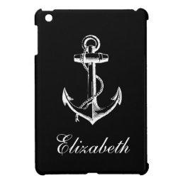 Black & White Vintage Anchor Custom Monogram Cover For The iPad Mini