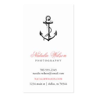 Black & White Vintage Anchor Vertical Business Card Templates
