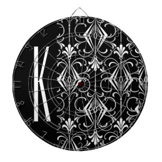 Black & White Vintage Art Deco Design Dartboard With Darts