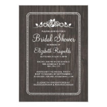 Black White Vintage Barn Wood Bridal Shower Invite