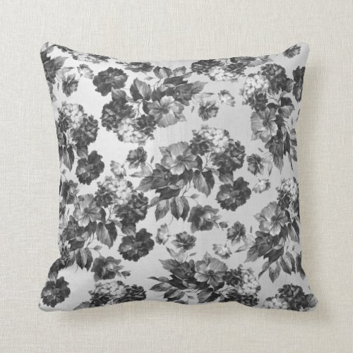 Black white vintage boho chic roses floral throw pillow