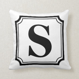 Black & White Vintage Border Monogram Pillow