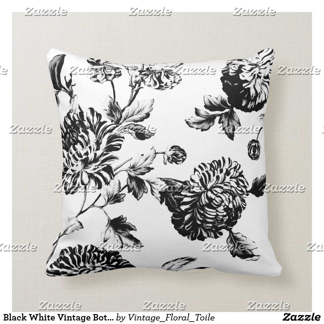 Black White Vintage Botanical Floral Pillow