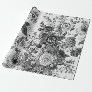 Black & White Vintage Botanical Floral Toile Wrapping Paper