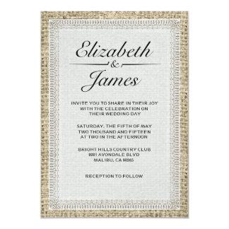 "Black & White Vintage Burlap Wedding Invitations 5"" X 7"" Invitation Card"