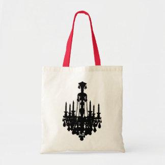 Black & White Vintage Chandelier Graphic Budget Tote Bag